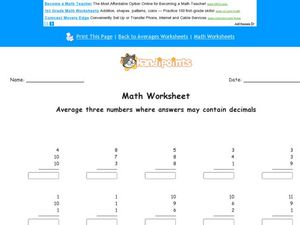 Math Worksheet: Averaging 3 Numbers #2 Worksheet