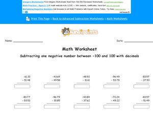Subtracting One Negative Number Between -100 and 100 With Decimals to the Thousandth Place Worksheet