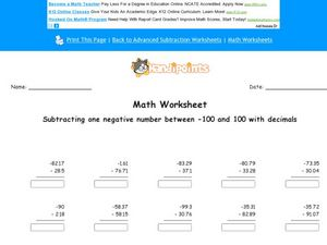 Subtracting One Negative Number Between -100 and 100: Decimal Numbers to the Hundredth Place Worksheet