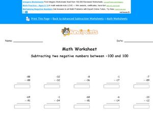 Subtracting Two Negative Numbers Between -100 and 100 Sheet B Worksheet