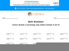 Convert Decimals to Percentage Using Numbers Between 0 and 10: Part 5 Worksheet