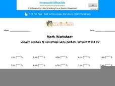 Convert Decimals to Percentage Using Numbers Between 0 and 10: part 9 Worksheet