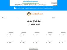 Dividing by 12: Part 6 Worksheet