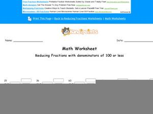 Reducing Fractions with Denominators of 100 or Less: Part 2 Worksheet