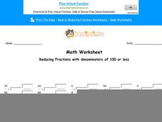 Reducing Fractions with Denominators of 100 or Less: Part 3 Worksheet