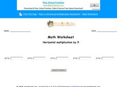 Horizontal Multiplication by 9: Part 4 Worksheet