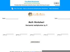 Horizontal Multiplication by 9: Part 6 Worksheet