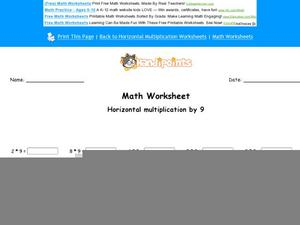 Horizontal Multiplication by 9: Part 7 Worksheet