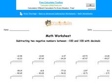 Subtracting Two Negative Numbers Between -100 and 100 with Decimals: Part 6 Worksheet