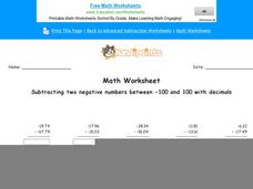 Subtracting Two Negative Numbers Between -100 and 100 with Decimals: Part 9 Worksheet