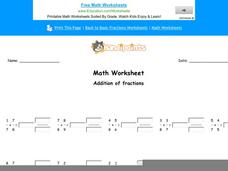 Addition of Fractions: Part 9 Worksheet