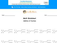 Addition of Fractions: Part 8 Worksheet