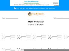 Addition of Fractions: Part 10 Worksheet