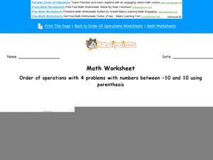 Order of Operations with 4 Problems with Numbers Between -10 and 10 Using Parenthesis: Part 2 Worksheet