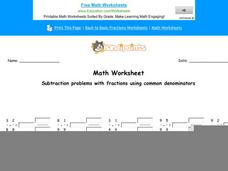 Subtraction Problems with Fractions Using Common Denominators: Part 5 Worksheet