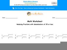Reducing Fractions with Denominators of 20 or Less: Part 6 Worksheet