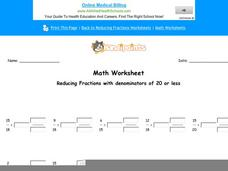 Reducing Fractions with Denominators of 20 or Less: Part 8 Worksheet