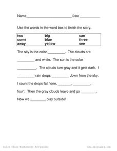 Complete the Story Worksheet for 1st - 3rd Grade   Lesson Planet