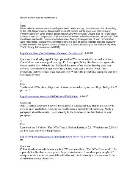 Binomial Distributions Worksheet 2 Worksheet For 11th