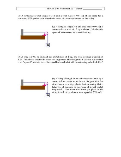 physics 240  waves worksheet for higher ed