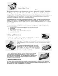 Make a Pinhole Viewer Worksheet