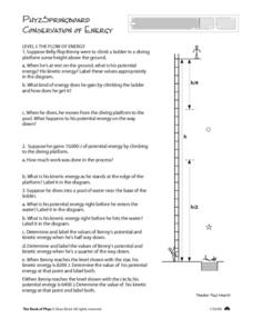 Worksheets Conservation Of Energy Worksheet Answer Key phyzspringboard conservation of energy 10th 12th grade worksheet