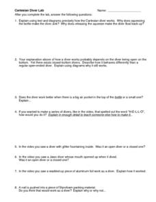 Cartesian Diver Lab Worksheet