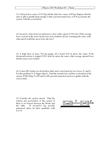 Physics 240: Worksheet 06-Acceleration and Free Body Diagrams 10th ...