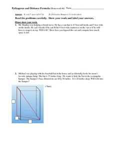 Pythagoras and Distance Formula Worksheet