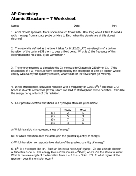 Ap Chemistry Atomic Structure Worksheet Th  Higher Ed