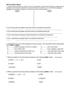WS 8.2 Acids and Bases Worksheet
