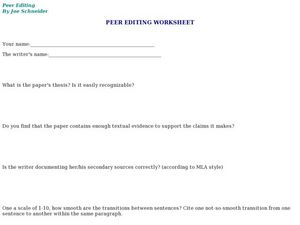 Peer Editing Worksheet, #3 Lesson Plan