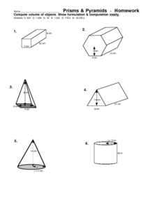 Prisms & Pyramids Homework Worksheet