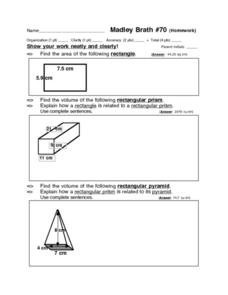 Area and Volume: Madley Brath #70 Worksheet