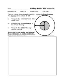 Circumference and Area: Madley Brath #58 Worksheet