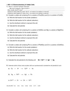 Electrochemistry and Voltaic Cells Worksheet
