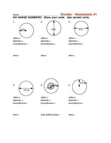 Circles - Homework #1 Worksheet