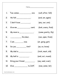 Completing Sentences Worksheet