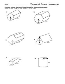 Volume of Prisms: Homework #2 Worksheet