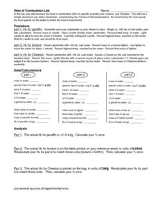 Heat of Combustion Lab Worksheet