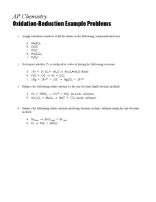 Oxidation-Reduction Example Problems Worksheet