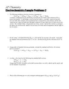 Electrochemistry Sample Problems 2 Worksheet