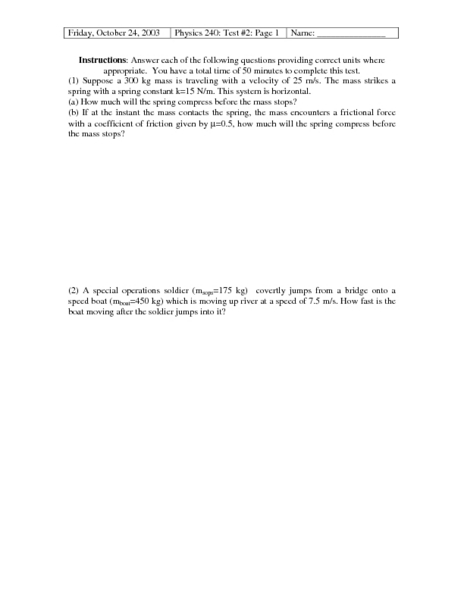 Physics 240: Test #2: Page 1 Worksheet