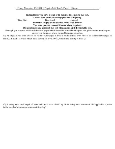 physics 240  test 3 worksheet for 9th