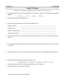 Chapter 9 Worksheet-Chemical Reactions Worksheet
