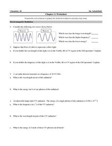 Chapter 11 Worksheet- Electromagnetic Radiation, Bohr Model, Quantum Mechanics Worksheet