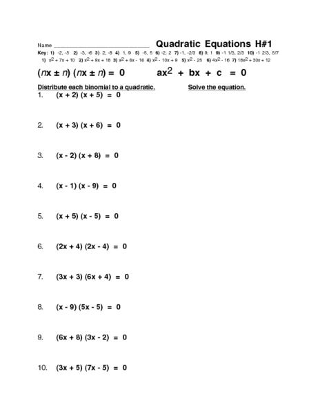 Quadratic Equations H#1 Worksheet for 9th - 12th Grade ...