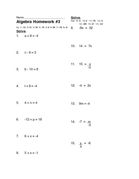 Algebra Homework #3: One-Step Equations Worksheet for 7th ...