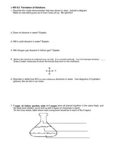 WS 8.2 Formation of Solutions Worksheet