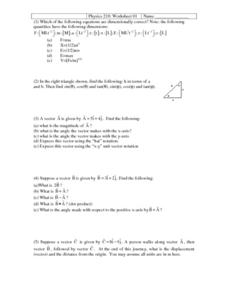 Physics 210:Worksheet 01-Vectors Worksheet